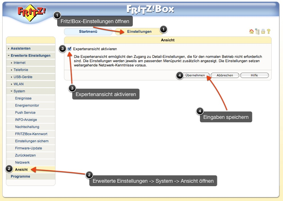 how to open the nat on fritzbox